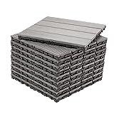 Decko Grey Pack of 10 Composite Wood Plastic Decking Interlocking Tiles with Woodgrain Effect 30cm x 30cm