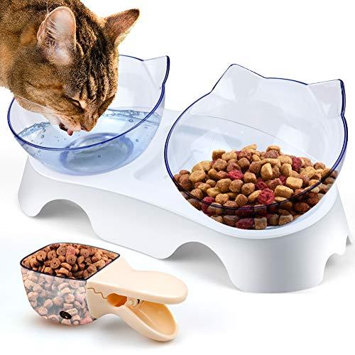 KOTONAMI Futternäpfe Katzenfutter, Orthopädischer Katzennapf Wasser Transparent, Doppelschüssel Katzenfutter Hundenapf 15 ° Kipphals Schutz Rutschfeste Halterung Basis [Abnehmbare Schale]