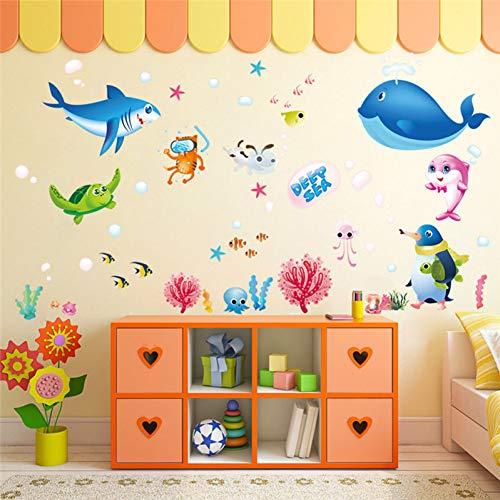 ZXFMT muursticker schattige vis haai spelen oceaan kinderkamer muur Stickers kleurrijke cartoon mariene vis muur sticker kind kamer decor muursticker