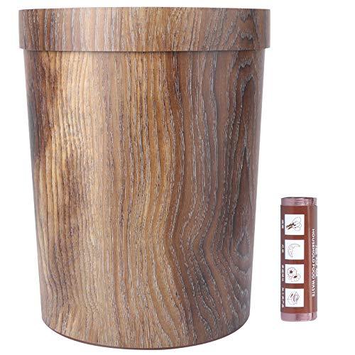 Wakauto - Papelera de madera de bambú, estilo vintage, rústico, cubo de basura, cubo de basura decorativo para hogar y oficina con bolsa de basura