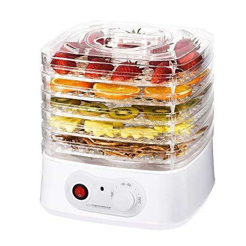 Deshidratador de frutas, verduras y hierbas | Secador de alimentos Dryer 250 W | 8 programas de secado | 4 jarras transparentes | Ventilador de potencia