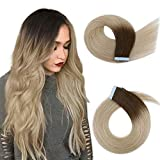 Creamily Tape in Human Hair Extensions 16inch Straight Dark Brown to Ash Blonde Seamless Invisible Double Sided Tape 100% Silky Adhesive Skin Weft Remy Human Hair Extensions for Women(,20pcs/40g)