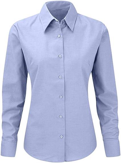My Custom Style Mujer Camisa Oxford de Manga Larga de Color Azul. Talla L