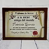 Calledelregalo Diplomas pergamino Personalizados para Todos los destinatarios (A la Mejor Amiga) con Marco