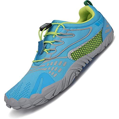 SAGUARO Barfußschuhe Herren Outdoor Traillaufschuhe Barfuß Zehenschuhe Damen Training Fitnessschuhe Straße Laufschuhe Hellblau C 41