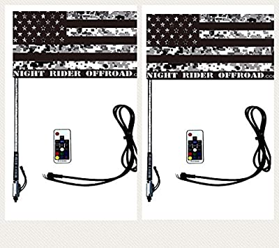 Night Rider USA Led Whip Light MULTICOLOR w/ Flag [21 Modes] [20 Colors] [Wireless Remote] [Waterproof] Lighted Antenna Whips - Accessories for ATV Polaris RZR 4 Wheeler