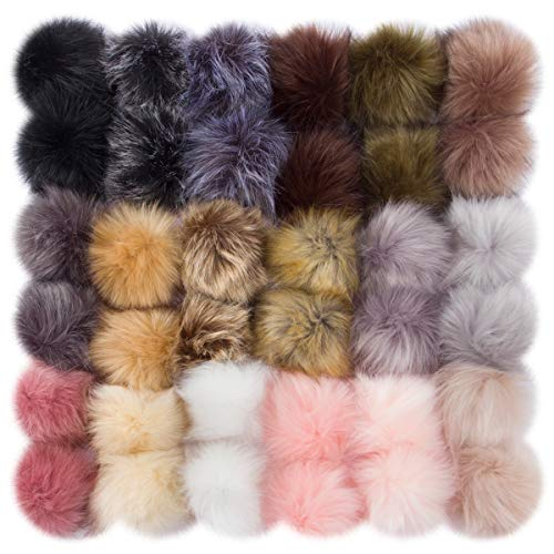 Cosweet 36pcs 3.6 Inch DIY Faux Fox Fur Fluffy Pompom Ball- Faux Fox Fur Pom Pom Balls with Elastic Loop Removable Knitting Hat Accessories for Hats Shoes Scarves Gloves Bags Keychains (18 Color)