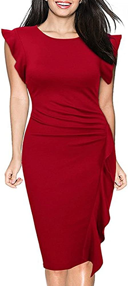 Fantazzy Women's Retro Ruffles Cap Sleeve Slim Business Pencil Dress for Cocktail Party and Wedding