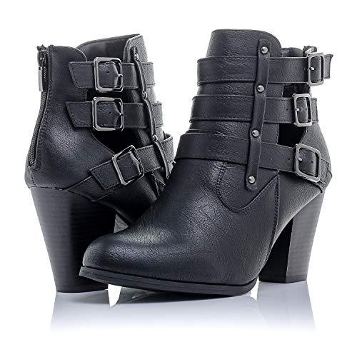 Bellmora Payton Damen Stiefel Seitlicher Reißverschluss Hoher Blockabsatz Stiefeletten, Schwarz (Schwarz), 37 EU