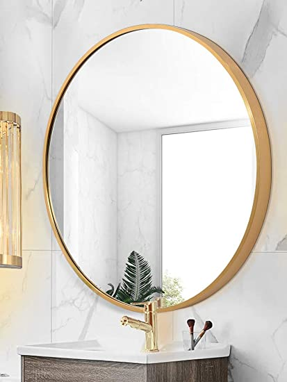 Amazon Com Round Mirror Wall Mounted Large Circle Mirrors For Wall Decor 23 6in Big Metal Frame Wall Mirror Modern Vanity Mirror For Living Room Bathroom Bedroom Home Kitchen