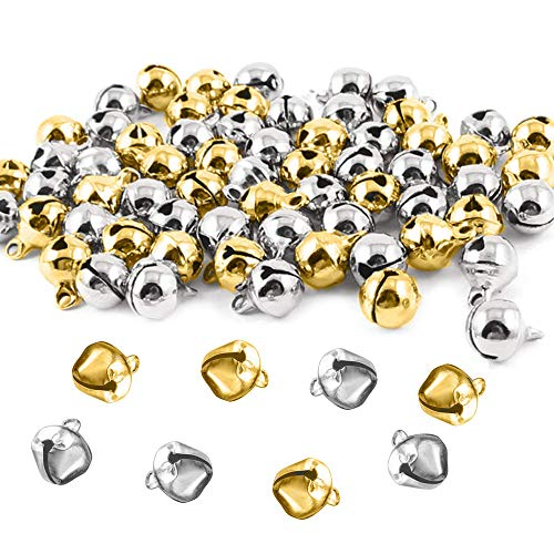 Zasiene Glöckchen 100 Stück Schellen Glocken Jingle Bells Glöckchen Kleine Glocken zum Basteln Mini Glocken 12 mm mit Öse Golden und Silber für Handwerk Deko Geschenkverpackung