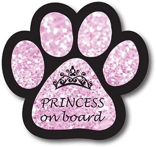 Magnet Me Up Princess on Board Pink Sparkly Pawprint Car Magnet - 5
