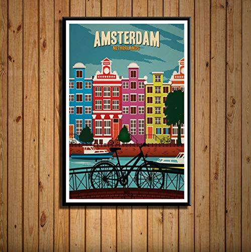 zpbzambm Toile Murale sans Cadre 50X70Cm,New York Pays-Bas Amsterdam Londres Vintage Voyage Ville Paysage Peinture Art Soie Toile Mur Affiche Décor À La Maison Décor Zp-646
