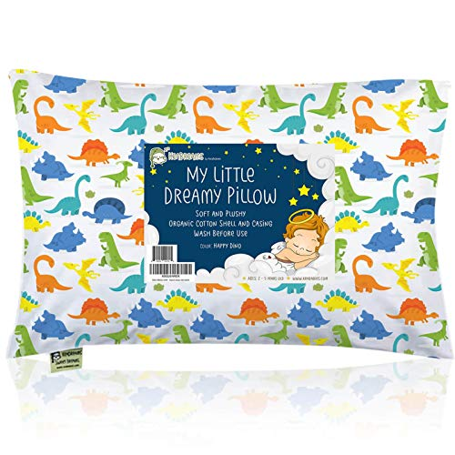 Toddler Pillow with Pillowcase - 13X18 Soft Organic Cotton Toddler Pillows for Sleeping - Machine Washable - Toddlers, Kids, Child - Perfect for Travel, Toddler Cot, Bed Set (Happy Dino)