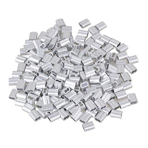 200 Stück M2 Doppelhülsen Aluminium Crimping Schlaufenhülse für Drahtseile 2mm Silber Drahtseilhülsen-Clip