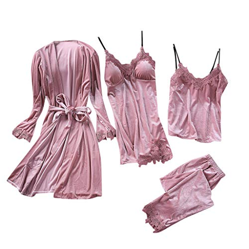Conjunto de Pijamas Mujer Baratas 4 Piezas Kimono Larga Pijama de Encaje...