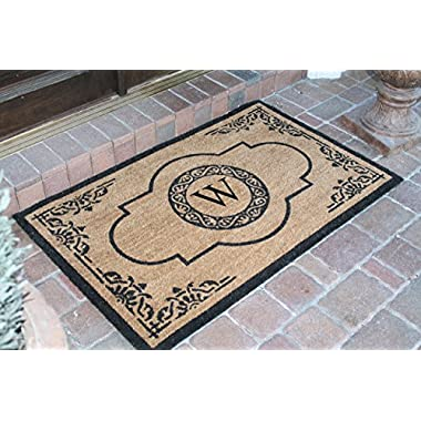 A1 Home Collections PT4007W First Impression Hand Crafted Abrilina Entry Monogrammed Doormat, Double, 30  L x 48  W
