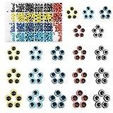 LANMOK 400 piezas Abalorios de Mal de Ojo Cuentas Redondas para Hacer Pulseras Ojos de Demonio Hechas A Mano Accesorios de Fabricacin de Collares Joyas Bisutera (4 mm / 6 mm / 8 mm / 10 mm)