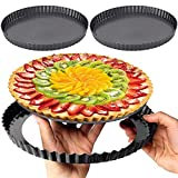 metagio Molde redondo para tarta de quiche de 8/10/30,48 cm, borde ondulado antiadherente, forma una...
