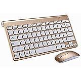 新しい2021ワイヤレスキーボード&マウスセット (2.4GHz), ミニUSB充電式 コンパクト 軽量 超薄 小型 スリム 無線キーボード 静音マウス 持ち運び便利 for Windows 10/8/7/Vista/XP, ノートパソコン (Gold)