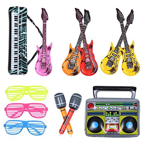 Balacoo Instrumento Musical Inflable Rock Star Juguete Set Guitarra Micrófonos Obturador Sombreado Gafas Saxofón Teclado Piano para Hawaii Piscina Juguete