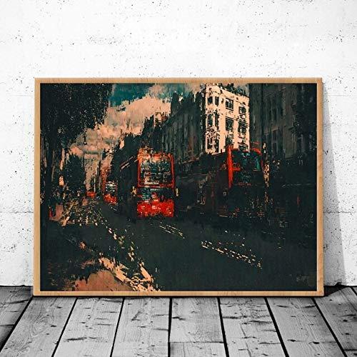 oioiu Resumen Retro autobús Rojo Paisaje de la Ciudad de Londres Cartel Retro Abstracto Lienzo impresión de Arte hogar Dormitorio Pasillo decoración Mural sin Marco
