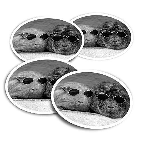 Pegatinas de vinilo (juego de 4) 10 cm BW – Cobayas con gafas de sol divertidas calcomanías para portátiles, tabletas, equipaje, reserva de chatarra, neveras #42904