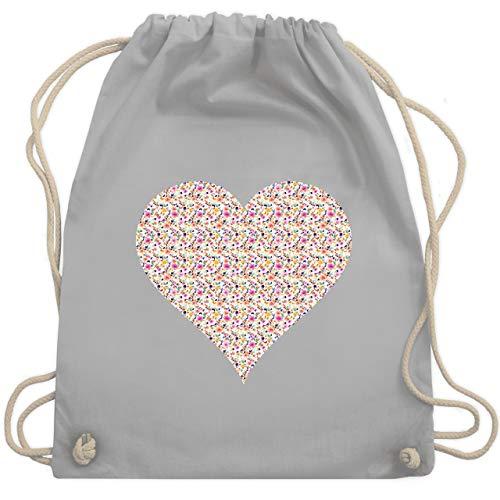 Shirtracer Vintage - Herz Blumen bunt - Unisize - Hellgrau - juterucksack damen - WM110 - Turnbeutel und Stoffbeutel aus Baumwolle