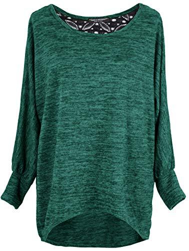 Emma & Giovanni - Damen Oversize Oberteile/Pullover mit Spitze (Grün, L-XL (Tag L))