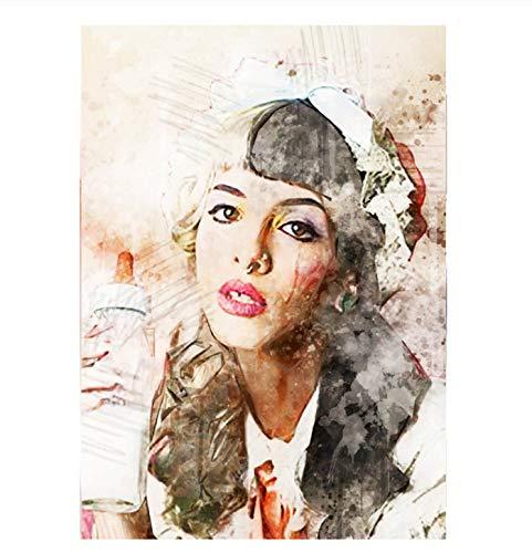 tgbhujk Cuadro de Arte de Pared Impresión de Lienzo Póster de Pared nórdico Melanie Martinez Cuadro Creativo Cantante Pop Estrella Decoración del hogar Pintura Mural 50X75Cm Sin Marco
