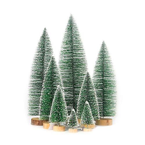 Jsdoin Lot de 25 sapins de Noël miniatures artificiels en sisal - 5 tailles - Bleu et vert