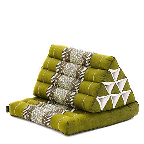 Leewadee Lesekissen mit Sitz-Auflage Dreieckskissen Rückenstütze Fernsehkissen Chill-Out Thai-Matte Ökologisches Naturprodukt, 75x50x40 cm, Kapok, grün