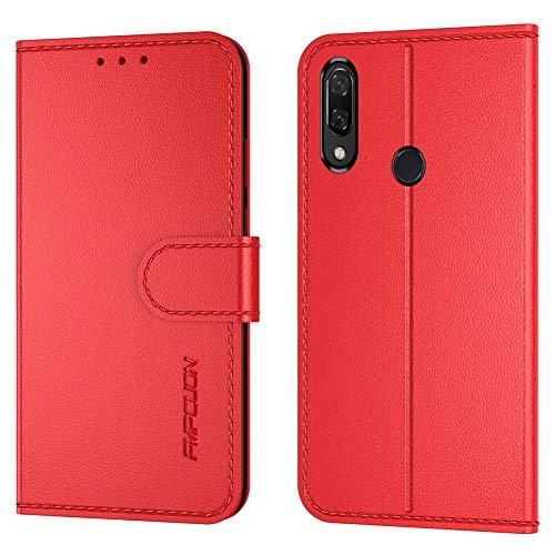 FMPCUON Handyhülle Kompatibel mit Huawei P Smart Plus 2019 Hülle Leder PU Leder Tasche,Flip Hülle Lederhülle Handyhülle Etui Handytasche Schutzhülle für Huawei Honor 20E/Honor 10i/Honor 20 Lite,Rot