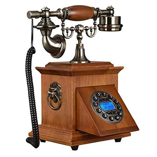 ZARTPMO Teléfono Fijo Fijo Teléfono Fijo Cuadrado Retro Hogar Casa Oficina Hotel Hecho de Madera Conjunto Antiguo Llave clásica Identificador de Llamadas de teléfono Fijo Vintage