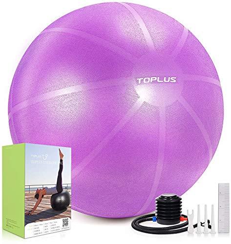 TOPLUS Pelota de Gimnasia Anti-Reventones Bola de Yoga Pilates y Ejercicio Balón para Sentarse Balon de Ejercicio para Fitness 300 kg con Bomba de Aire 65cm (Rosa 65cm)