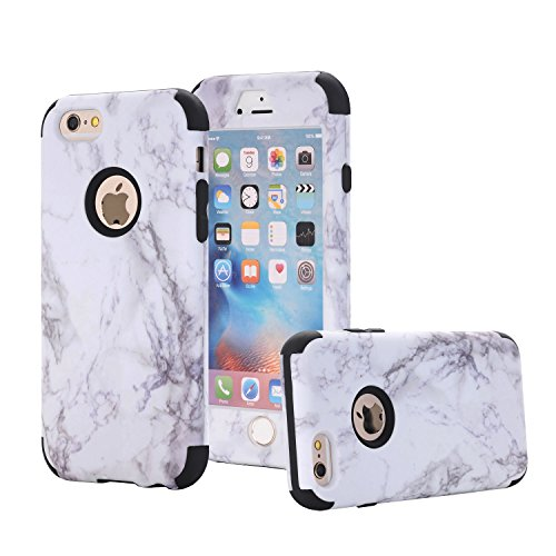 Ankoe iPhone 6s Case, iPhone 6 Case, White Marble Stone Pattern Shockproof Full Body Protective Cover Dual-Layer Slim Soft Flexible Silicone and Hard PC for iPhone 6/6s (Black)