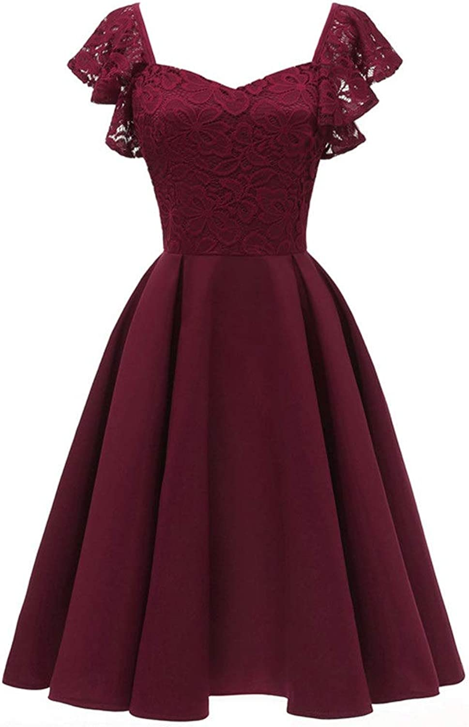 Womens Party Dress Womens Sleeve Party Dresses Prom Evening Lace Butterfly Cocktail Dress (color   Wine red, Size   XL)