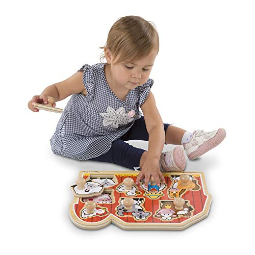 Melissa & Doug Farm Friends Large Peg Puzzle | Puzzle | Wooden Toy | 3+ | Gift for Boy or Girl