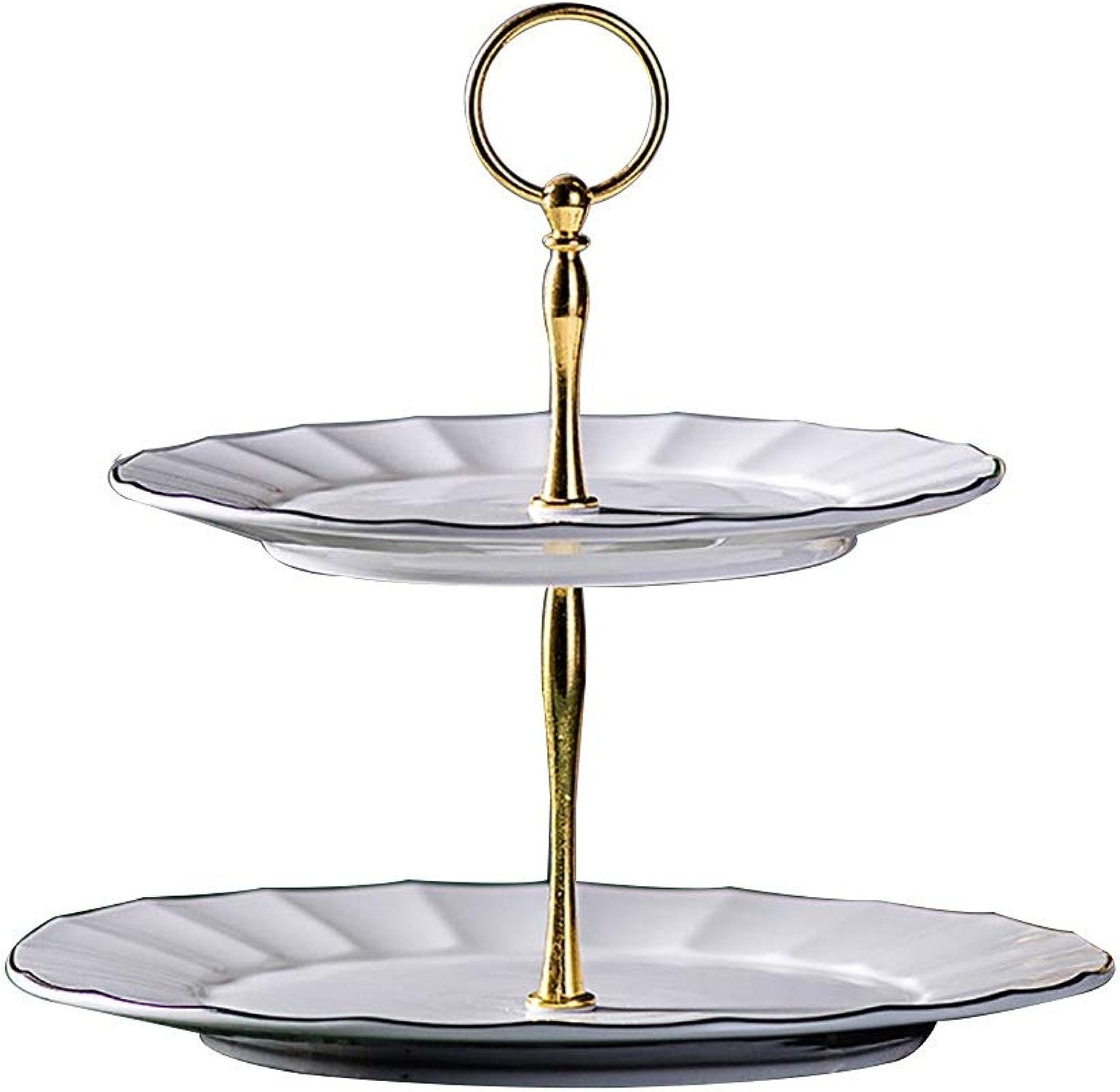Etagère à desserts - céramique - Ménage - Style européen - Multicouches - assiette de fruits - Etagère à gateaux - Etagère à thé l'après-midi (Taille   20.5cm+25.5cm)