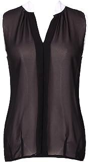 LaoZan Damska bluzka szyfonowa z dekoltem w kształcie litery V, bez rękawów, koszulka