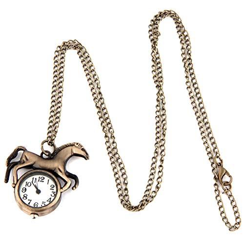 Frauen Taschen-Analog-Quarz-Taschen-Uhr-Pferden-Muster-Halsketten-Anhänger-Taschen-Uhr Bronzeweinlese-Ketten-Halskette Taschenuhr