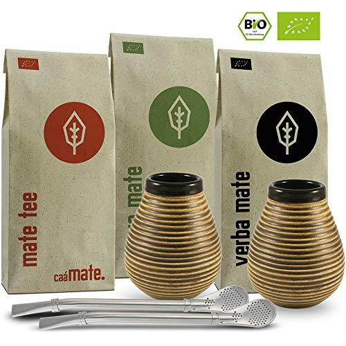 Mate Tee Set für Zwei Bio ● 2 Matebecher + 2 Bombillas + 300g Matetee + Zubereitungsanleitung