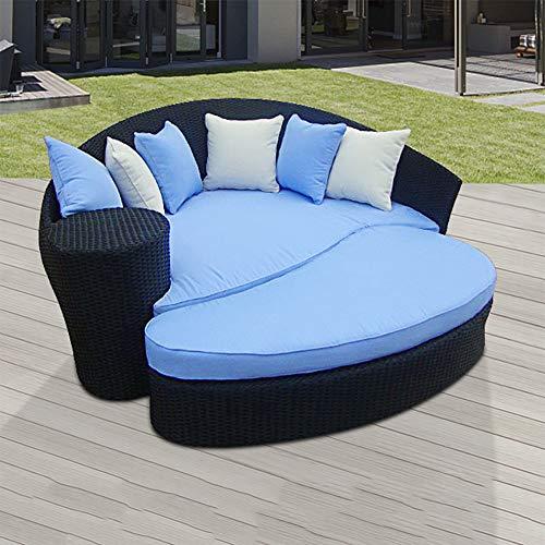 DNNAL Lounge-Sessel Chaise, Outdoor Freizeit Großes Rundes Bett Wintergarten Liege Hotel Wicker Stuhl Schlafsofa Villa Rattan Große Bettkombination,B