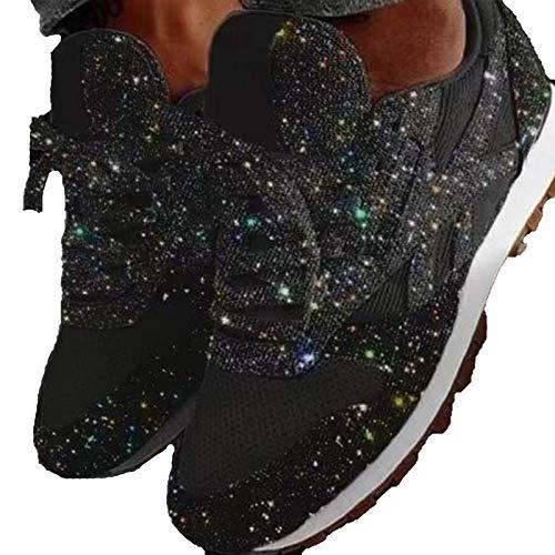 GBZLFH Zapatos Deportivos Unisex, Zapatos para Caminar de Diamantes de imitación con Cordones de Malla de Punta Redonda de Moda, Zapatos Transpirables para Correr al Aire Libre,Negro,43
