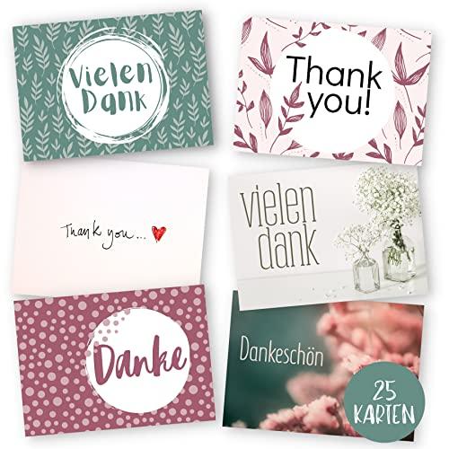 25 er Set Dankeskarten hochwertig - Blanko Karte zum Danke sagen - Postkarte ideal als Danksagungskarten für Abschied der Kollegen, Kommunion, Konfirmation oder einfach als Danke Karte