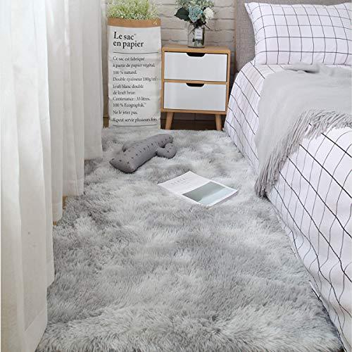 LEERIAN Area Teppich, Soft Area Teppichboden, Schlafzimmer rutschfeste Yoga-Decke, Flauschiger Teppich, hellgrau 70x 160 cm