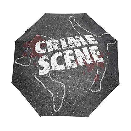 SUHETI Paraguas automático de Apertura/Cierre,Palabras de la Escena gráfica en el Esquema del patrón temático de la víctima de Miedo,Paraguas pequeño Plegable a Prueba de Viento