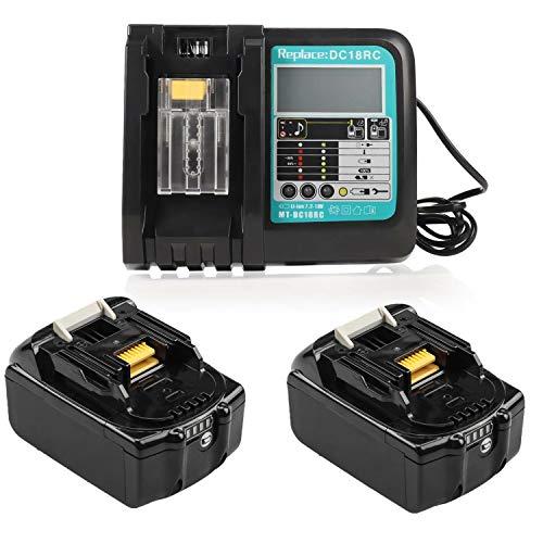 Cargador rápido de repuesto con 2 baterías de 18 V 5.0 Ah para Makita 18v Batería BL1850 BL1860B BL1860 BL1840 BL1830 BL1815 LXT-400 con indicador