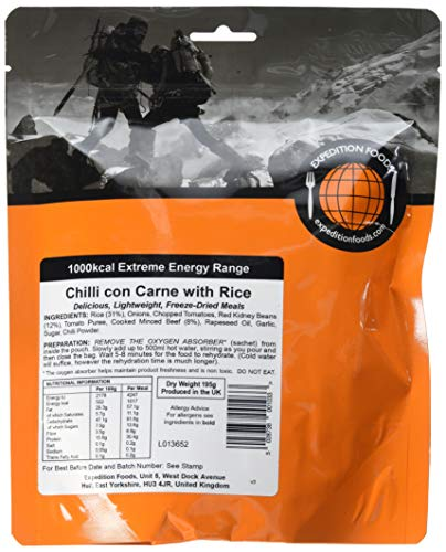 EXPEDITION FOODSexpeditionfoods.com Double Serving Chilli Con Carne with Rice (1000kcal) -Freeze Dried Meal, 1000 kcal