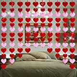 3 Pieces Valentine's Day Heart Banners Valentines Heart Felt Garlands No DIY Red and Pink Heart Hanging Decorations Valentines Heart Wall Decor for Valentines Day Wedding Party Wall Decor, 9.8 Ft